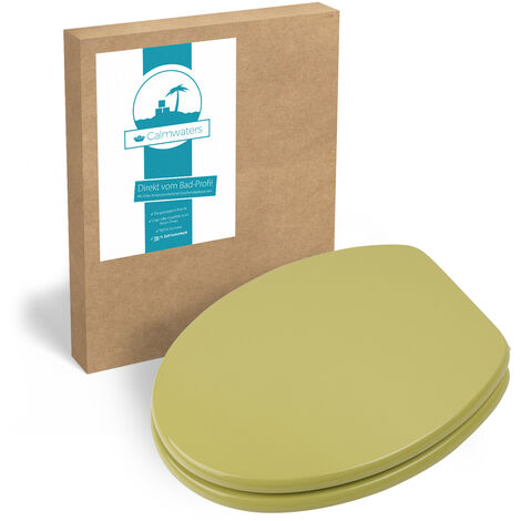 Calmwaters® WC Sitz Grün mit Holzkern Modern Wellness, Metall-Befestigung, universale O-Form, stabiler Holzkern Toilettendeckel, Komfort Klodeckel, ovale Toilettenbrille, in Oliv-Moosgrün, 26LP2770