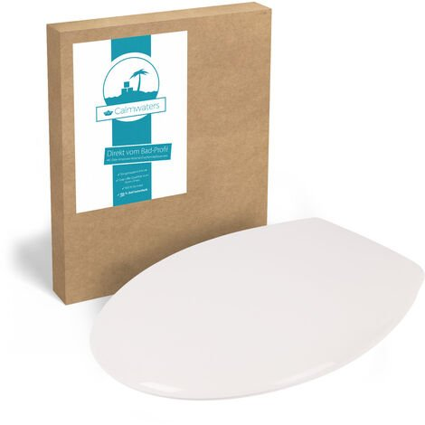 Calmwaters® WC Sitz günstig, Weiß mit Fast-Fix-Schnellbefestigung, universale O-Form, Toilettendeckel aus Thermoplast, Komfort Toilettensitz preiswert, Klodeckel Elements 2, 26LP2771