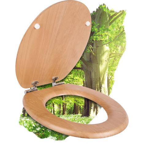Calmwaters® WC Sitz Holz Buche mit Absenkautomatik Modern Wellness, Fast-Fix-Befestigung aus Metall, universale O-Form, stabiler Holzkern Toilettendeckel, Komfort Klodeckel, Weiß - 26LP2849