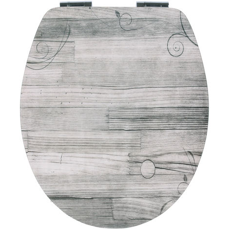 Calmwaters® WC Sitz Holz mit Absenkautomatik Motiv Holzdiele, Fast-Fix-Befestigung aus Metall, universale O-Form, stabiler Holzkern Toilettendeckel, Komfort Toilettensitz - 26LP3563