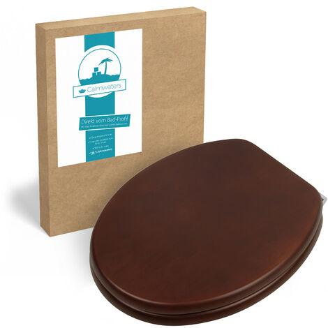 Calmwaters® WC Sitz Holz Nussbaum mit Absenkautomatik Modern Wellness, Fast-Fix-Befestigung aus Metall, universale O-Form, stabiler Holzkern Toilettendeckel, Echtholzfurnier Nussbaum - 26LP2847