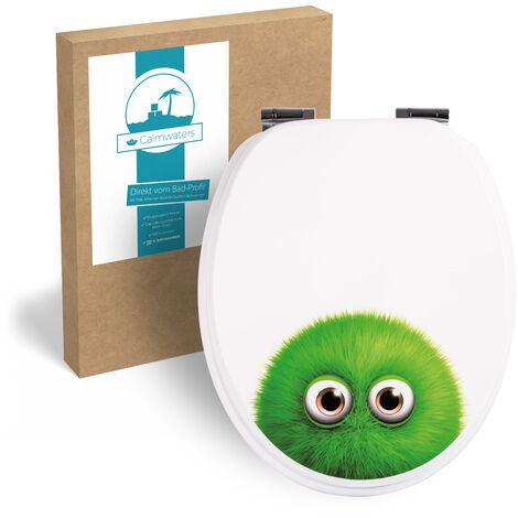 Calmwaters® WC Sitz Monster Flauschi, Absenkautomatik, Fast-Fix-Befestigung aus Metall, universale O-Form, stabiler Holzkern Toilettendeckel, Komfort Toilettensitz lustig - 26LP2838