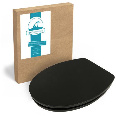 Calmwaters® WC Sitz Schwarz mit Absenkautomatik Motiv Schwarz, Fast-Fix-Befestigung aus Metall, universale O-Form, stabiler Holzkern Toilettendeckel, Komfort Toilettensitz Black, glänzend - 26LP2826