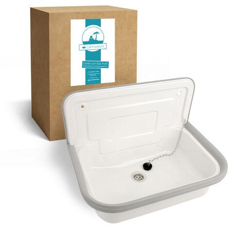 Calmwaters® Weißes Ausgussbecken zur Wandmontage aus Stahl mit Spritzschutz und Ablaufstopfen, 50 cm - 05AP4683
