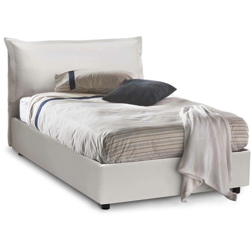 Calotta Bett 1 und 1/2 quadratisches Bett mit seitlichem Bettkasten, Weiß, Struktur: Holz / Bezug: Öko-Leder / Öffnungsmechanismus: Eisen, Einzelbett