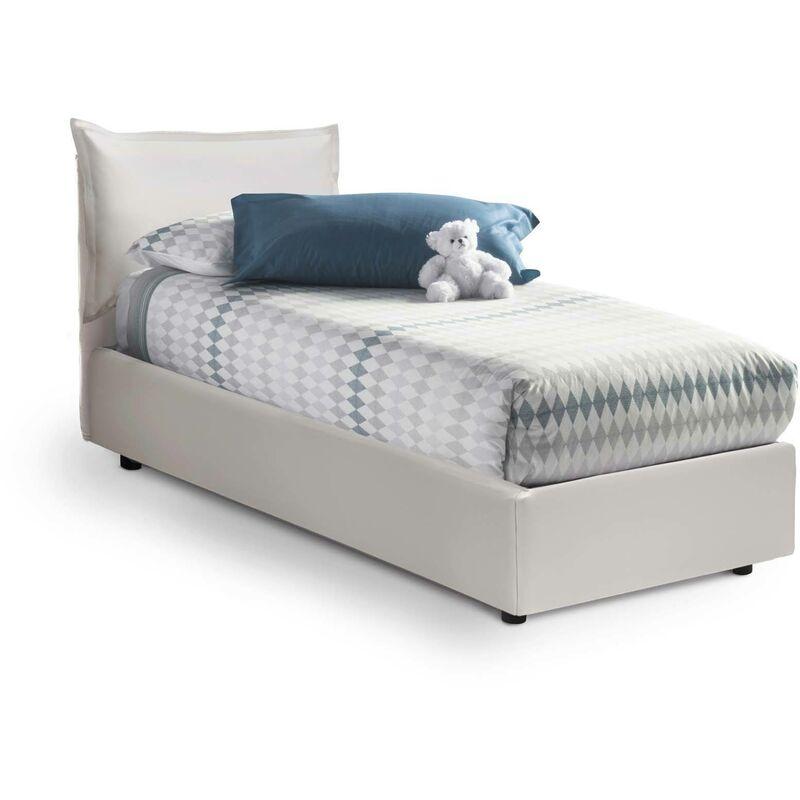 Calotta Einzelbett mit seitlichem Bettkasten, Weiß, Struktur: Holz / Beschichtung: Öko-Leder / Öffnungsmechanismus: Eisen - TALAMO ITALIA