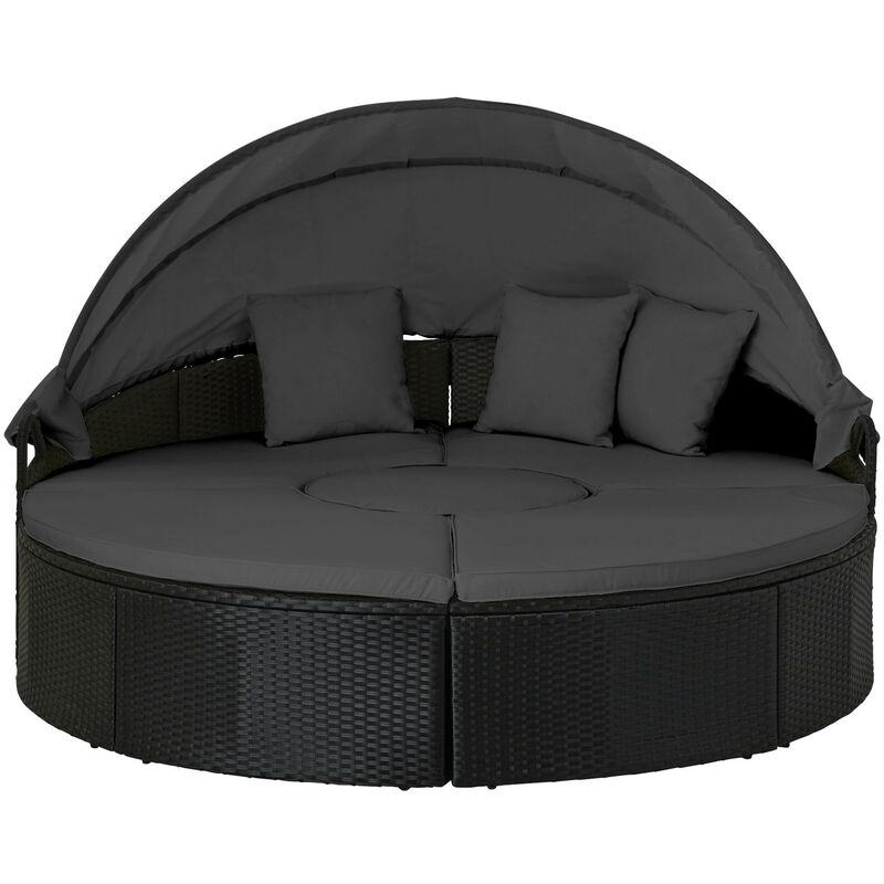 Calvi - Salon de jardin rond - en résine tressée - bain de soleil avec auvent - Noir avec coussins gris Couleur - Noir - Noir