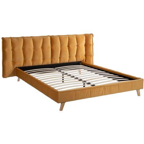 Cama 160x200 ocre madera / tejido 210 x 221 x 100 cm Rogal