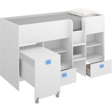 Cama alta compacta con escritorio extraíble, dos cajones y estanterías 120 cm (alto) x 205 cm (ancho) x 107 cm (prof.) Azul