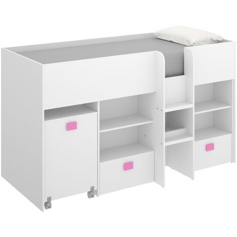 Cama alta compacta con escritorio extraíble, dos cajones y estanterías 120 cm (alto) x 205 cm (ancho) x 107 cm (prof.) Ttirador Rosa