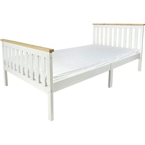 Cama blanca MILANO PINE 200x90 de madera con un cómodo colchón
