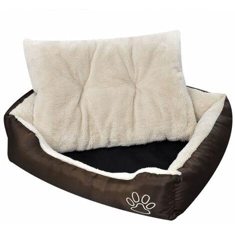 Cama blanda para perros con un cojin blanco acolchado, tamano S
