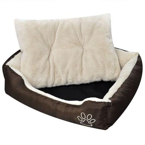 Cama blanda para perros con un cojín blanco acolchado, tamaño XL - Beige
