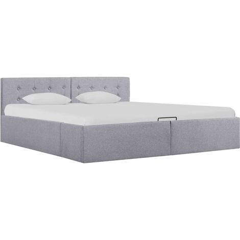 Cama canapé hidráulica almacenaje LED tela gris claro 160x200cm - Gris