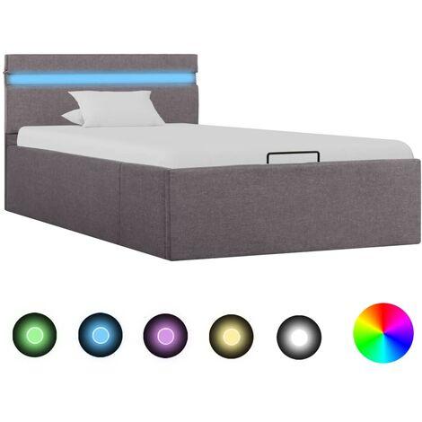 Cama canapé hidraúlica almacenaje LED tela gris topo 100x200 cm - Marrón