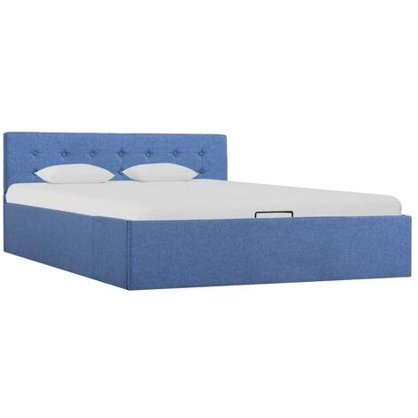 Cama canapé hidraúlica con almacenaje tela azul 140x200 cm
