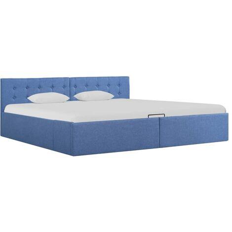 Cama canapé hidráulica con almacenaje tela azul 180x200 cm