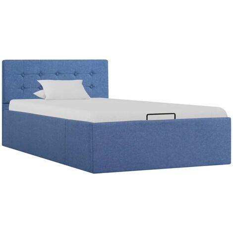 Cama canapé hidraúlica con almacenaje tela azul 90x200 cm