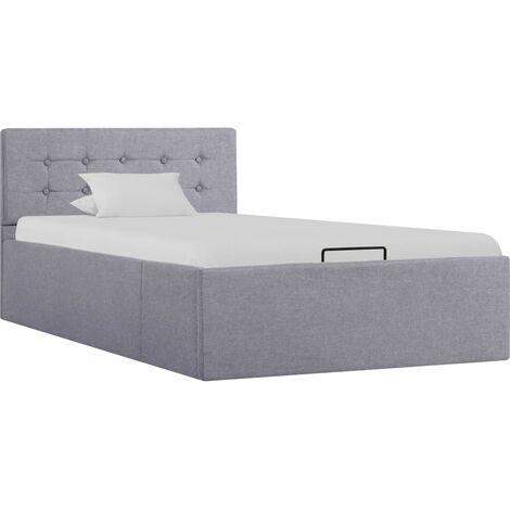 Cama canapé hidráulica con almacenaje tela gris claro 100x200cm - Gris