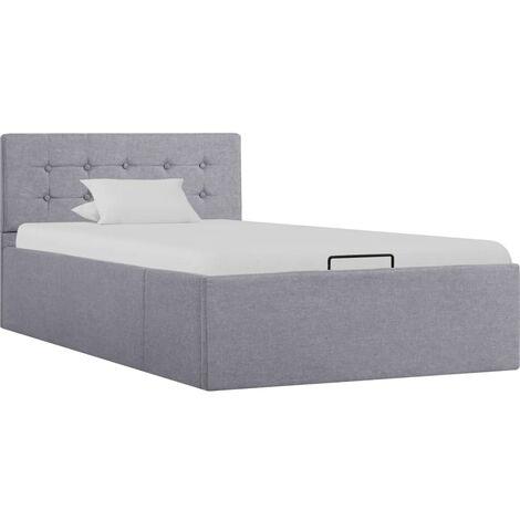 Cama canapé hidráulica con almacenaje tela gris claro 90x200cm - Gris