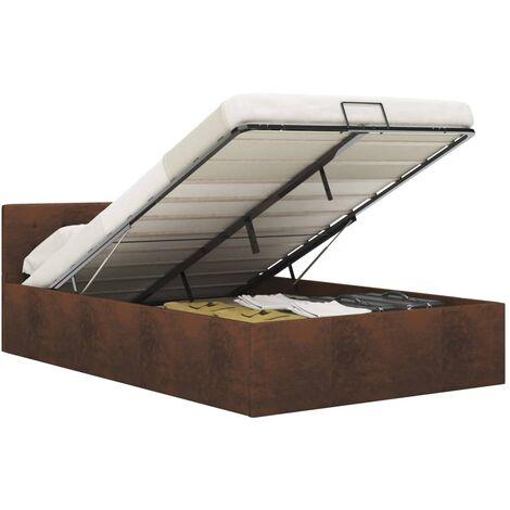 Cama canapé hidráulica con almacenaje tela marrón 120x200 cm
