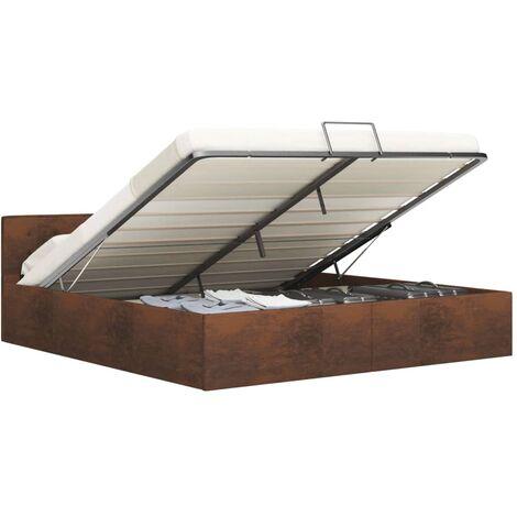 Cama canapé hidráulica con almacenaje tela marrón 180x200 cm