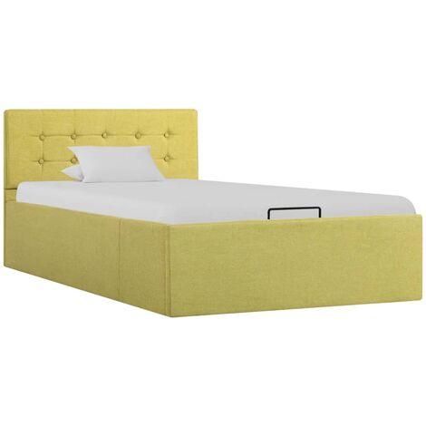 Cama canapé hidraúlica con almacenaje tela verde 100x200 cm