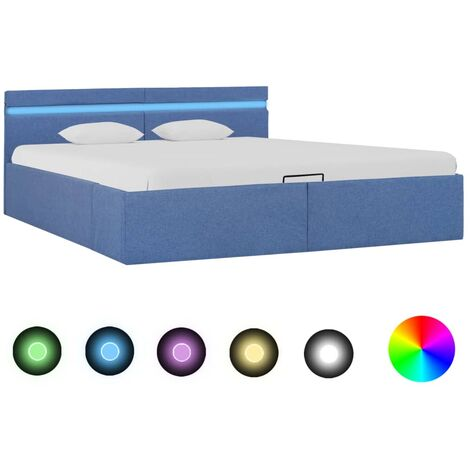 Cama canapé hidráulica con almacenaje y LED tela azul 160x200cm