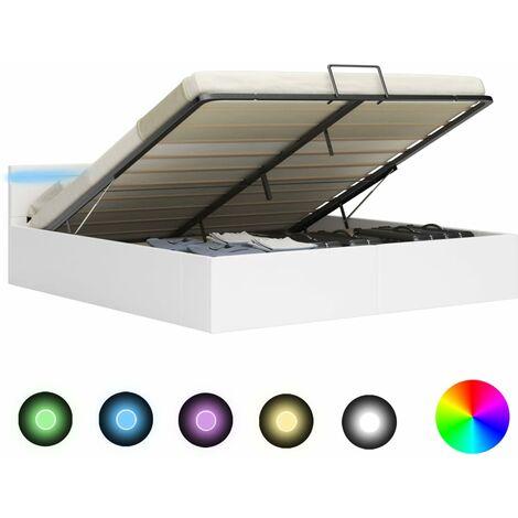 Cama canapé hidráulica con LED cuero sintético blanca 180x200cm