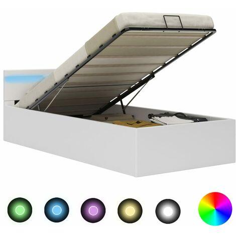 Cama canapé hidráulica con LED cuero sintético blanco 100x200cm - Blanco