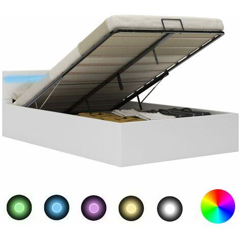 Cama canapé hidráulica con LED cuero sintético blanco 140x200cm - Blanco