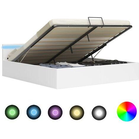 Cama canapé hidráulica con LED cuero sintético blanco 160x200cm - Blanco