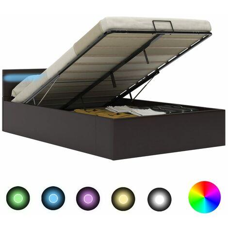 Cama canapé hidráulica con LED cuero sintético gris 120x200 cm - Gris