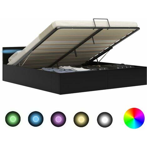 Cama canapé hidráulica con LED cuero sintético negra 180x200 cm - Negro