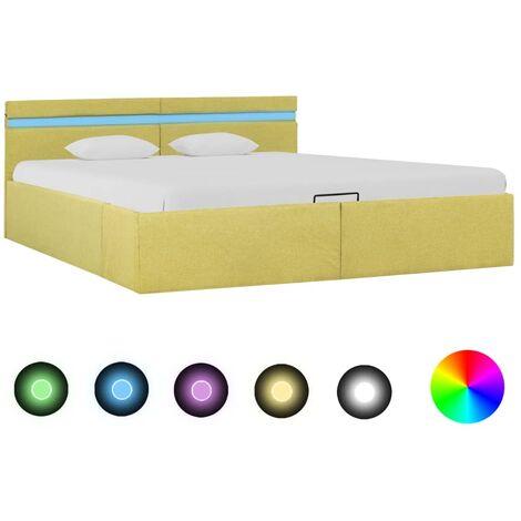 Cama canapé hidraúlica con LED tela amarillo lima 180x200 cm