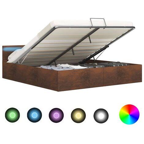 Cama canapé hidráulica con LED tela marrón 180x200 cm