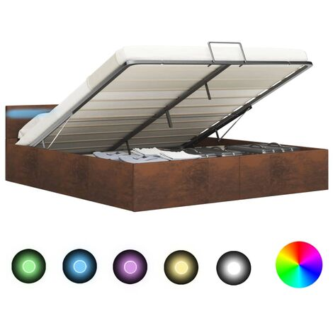 Cama canapé hidráulica con LED tela marrón 180x200 cm - Marrón