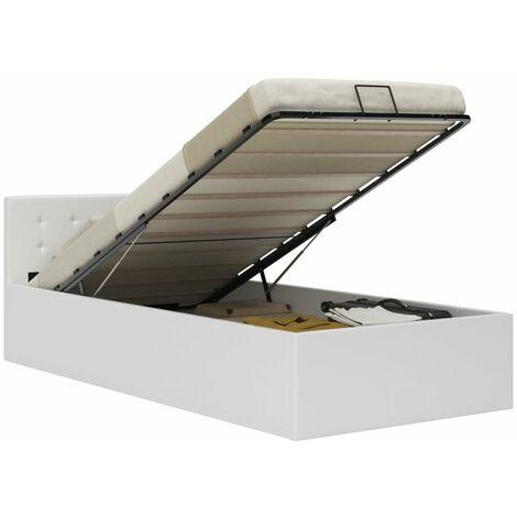 Cama canapé hidráulica cuero sintético blanco 100x200 cm