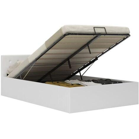 Cama canapé hidráulica cuero sintético blanco 120x200 cm - Blanco