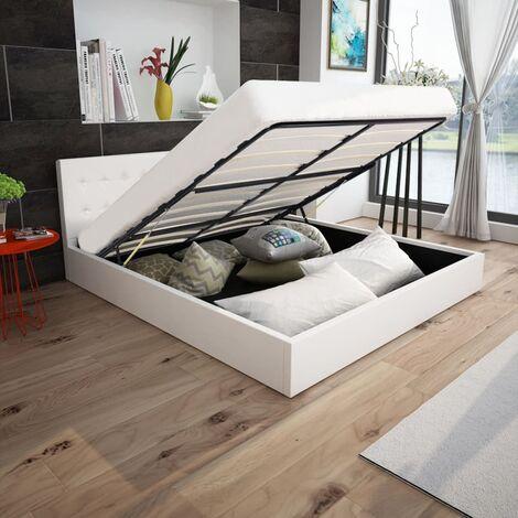 Cama canapé hidráulica cuero sintético blanco 180x200 cm