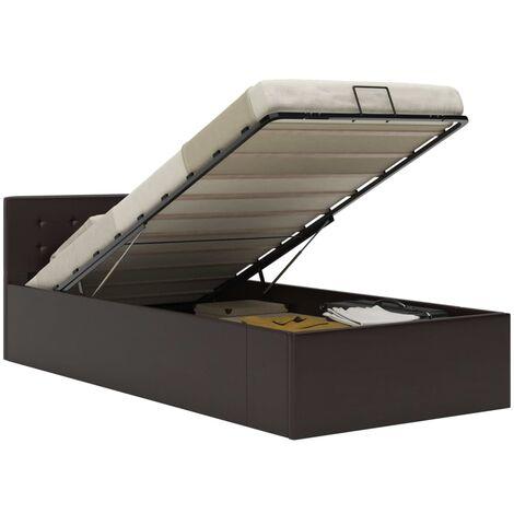 Cama canapé hidráulica cuero sintético gris 100x200 cm - Gris