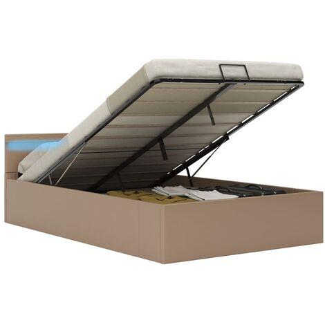 Cama canapé hidráulica LED cuero sintético capuchino 120x200 cm