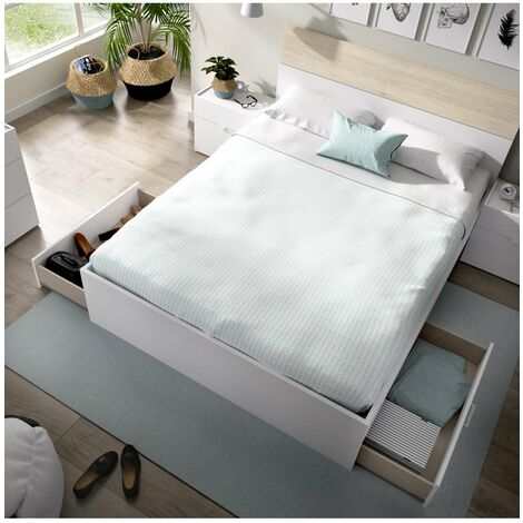 Cama canape Segura para colchones de 150x190 en color blanco 85 cm(alto)156 cm(ancho)192 cm(largo) Color Blanco