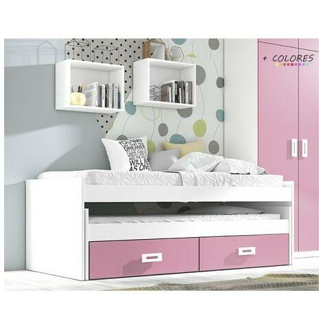 Cama compacta 90x190 cms, color Rosa y Blanco, incluye dos cajones, ref-02