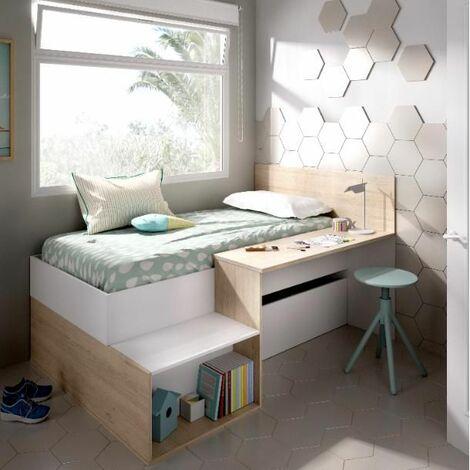 Cama compacta con escritorio Genave varios colores 110 cm(alto)135 cm(ancho)195 cm(largo)