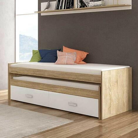 Cama compacto 90x190 cms, color Cambrian y Blanco, incluye dos cajones, ref-01