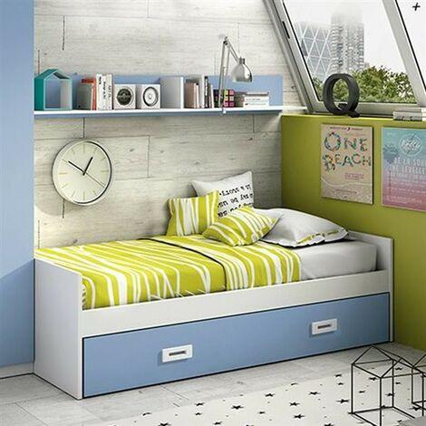 Cama compacto 90x190 cms, color Cambrian y Grafito, incluye dos cajones, ref-02