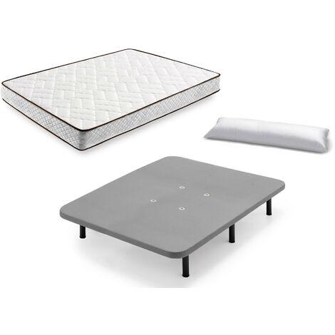 Cama Completa - Colchon Flexitex + Base Tapizada 3D con 5 Barras Transversales Color Gris + 6 Patas de 26cm + Almohada de Fibra
