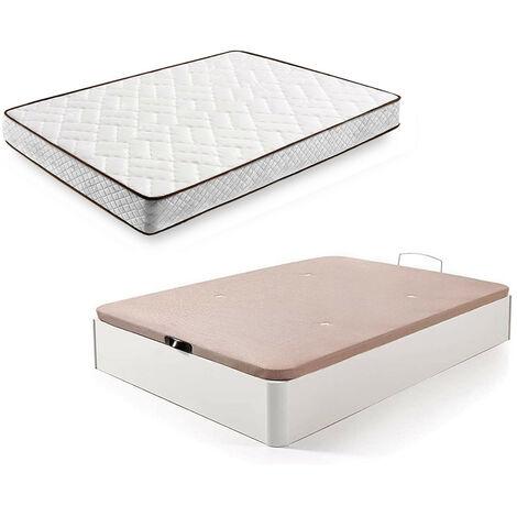 Cama Completa - Colchon Flexitex + Canape Abatible de Madera Color Blanco