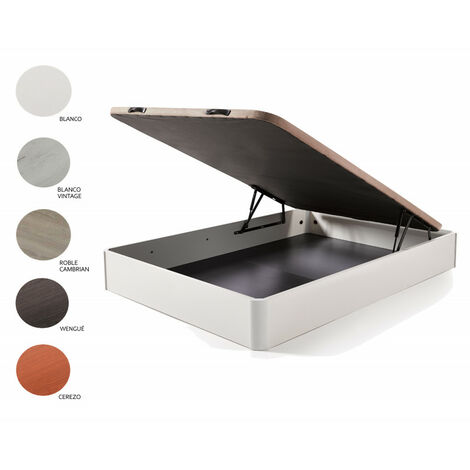 Cama Completa - Colchon Flexitex + Canape Abatible de Madera Color Blanco + Almohada de Fibra